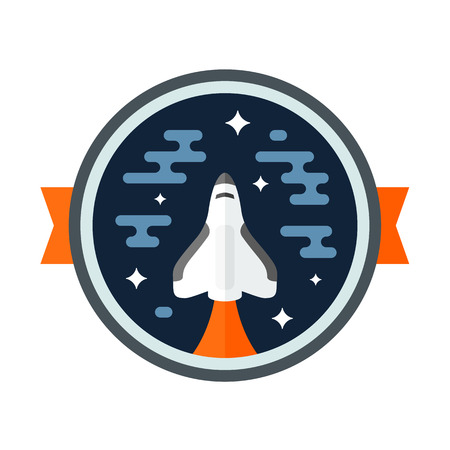 aeronautics: Round space scene badge with shuttle rocket