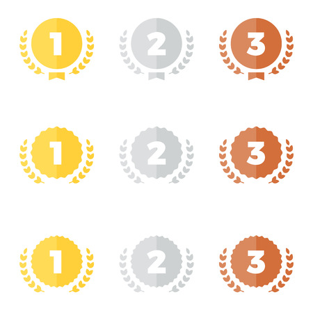 Set of gold silver and bronze award medal graphics