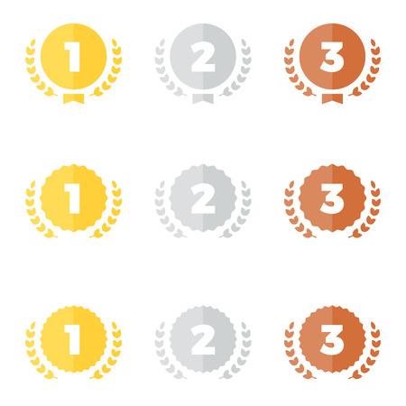 Set van goud zilver en bronzen award medaille graphics