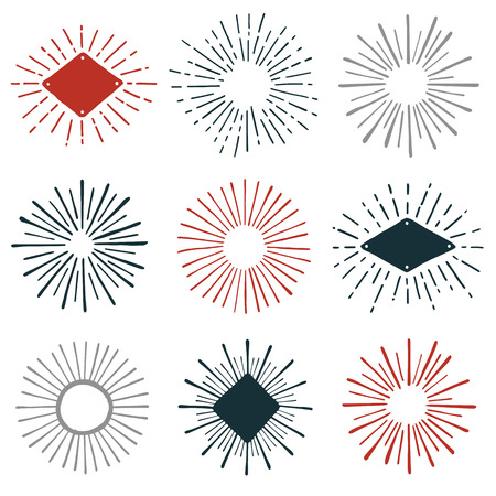 Set of hand-drawn sunburst design element graphics