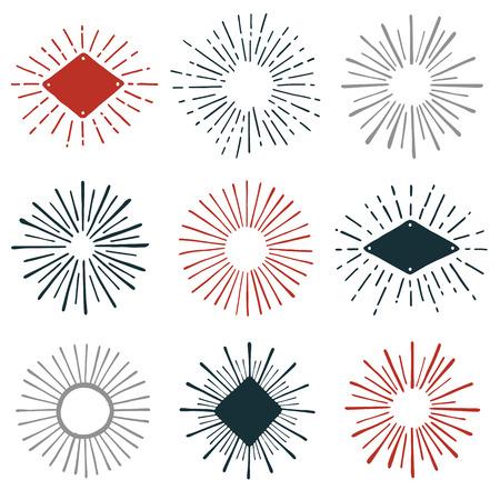Set of hand-drawn sunburst design element graphics