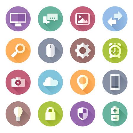 device: Set of flat style technology device icons Illustration