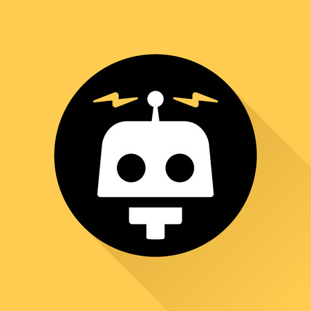 Robot illustration graphic icon with electric bolts Reklamní fotografie - 37441634