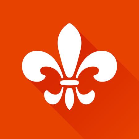 Fleur de lis graphic symbol with long shadow