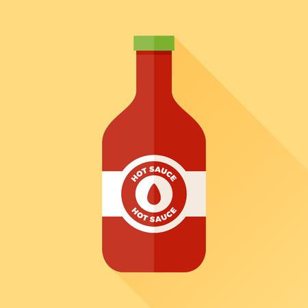 calor: Botella de salsa picante con etiqueta y tapa verde Vectores