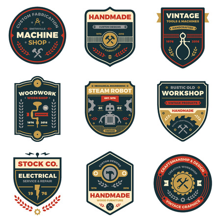 shields: Set of retro vintage workshop badges and label graphics Illustration