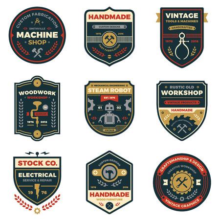 robot: Zestaw retro odznaki warsztatowe i grafika etykiet Ilustracja