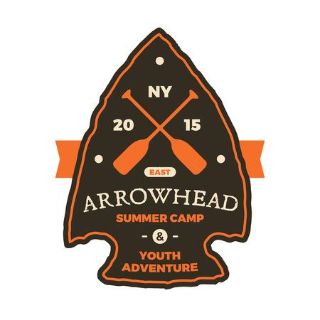 arrowhead: Summer camp arrowhead sign emblem graphic