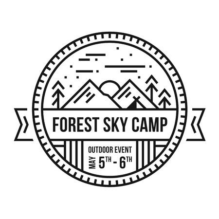 Ronde bos berg embleem geïllustreerde badge