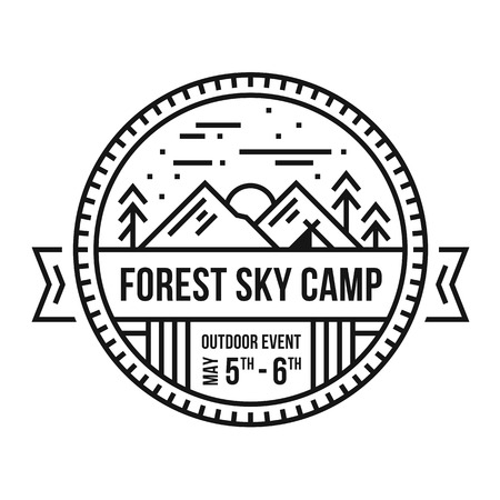 Round forest mountain emblem illustrated badge