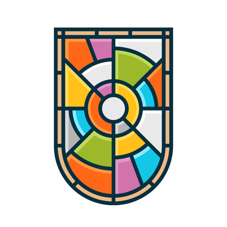 glass modern: Stained glass shield emblem vector graphic symbol