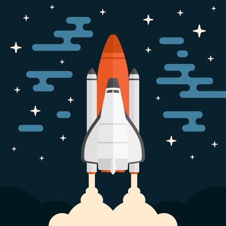 Space shuttle concept voertuig lancering met abstracte achtergrond Stock Illustratie