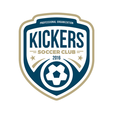 Soccer football badge crest graphic with text