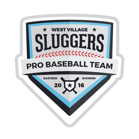 Baseball shield football badge crest graphic with text Vectores