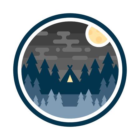 Ronde bossen badge nacht kamp illustratie embleem ontwerp