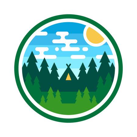 Ronde bossen badge camping illustratie embleem ontwerp Stock Illustratie
