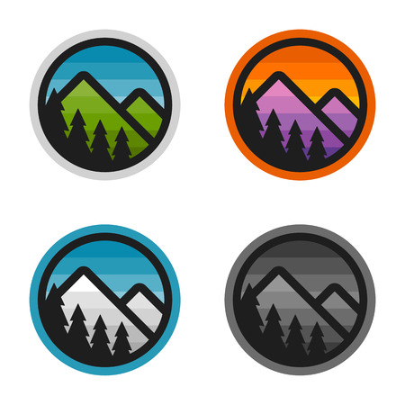 Colorful simple mountain badges with cut out trees