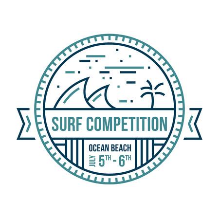 Rond surfen golf embleem abstracte geïllustreerde badge