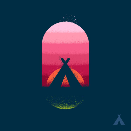 Camping tent teepee illustration emblem with texture