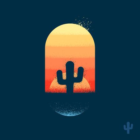 Cactus in het embleem van de woestijnillustratie met textuur Stock Illustratie