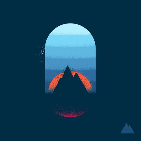Mountain icon grafische illustratie embleem met textuur