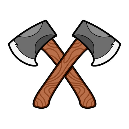 woodsman: Axe symbol graphic with stylized wooden handles