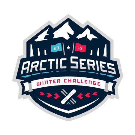 Arctic sport winter concurrentie grafisch ontwerp embleem Stock Illustratie