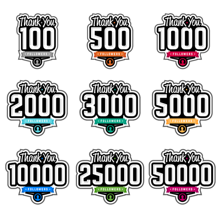 following: Set of thank you followers badges with numbers