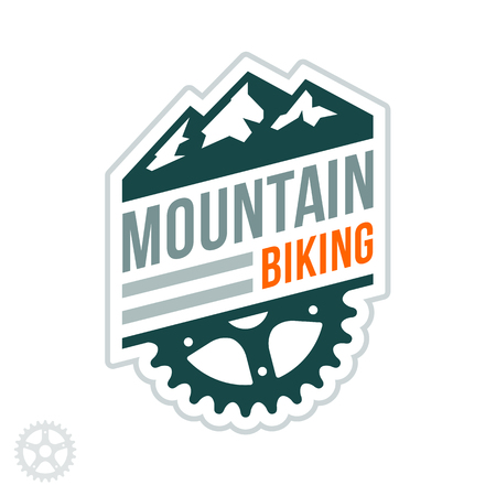 Mountain biking badge with graphic accents