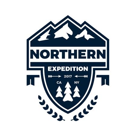 Mountain expeditie banner badge met grafische accenten