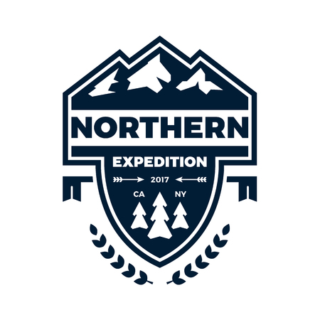 accents: Mountain expedition banner badge with graphic accents