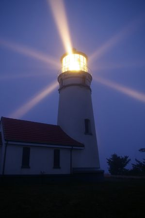 beam: Lighthouse at night Stock Photo