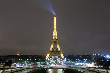 paris at night: Eiffel Tower and Paris Skyline Editorial