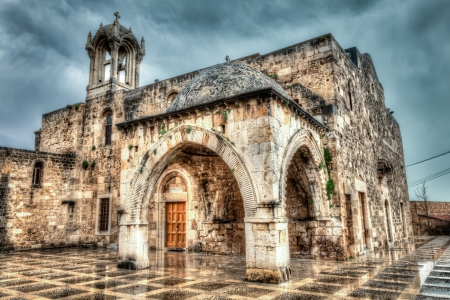 lebanon: Details of the ancient Saint Jeans Church in Byblos, Lebanon  Stock Photo