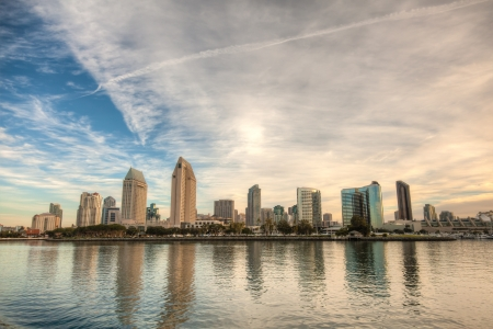 Skyline of San Diego, California on a bright sunny day  photo