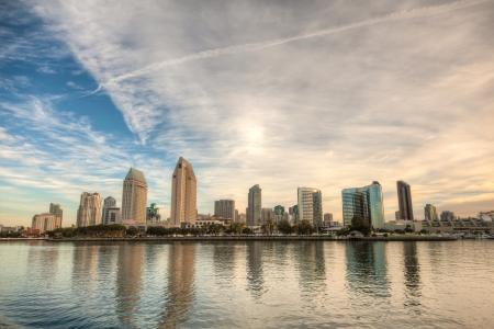 bright center: Skyline of San Diego, California on a bright sunny day
