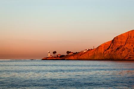 샌디에고, 캘리포니아에서 Loma 포인트 등 대 맑은 하늘에 일몰에서