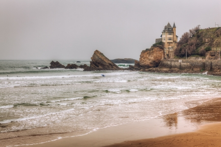 spanish landscapes: La Bella Villa castle on the coast in Biarritz France  This building is located on the Basque coast in southern France near the Spanish boarder  This is a HDR image