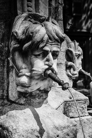 stone carving: Black and white HDR of a fountain with a stone head carving and water coming out of its mouth