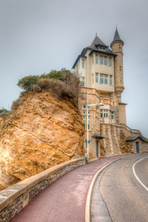 earthy: Seaside castle in Biarritz in the Basque region of southern France  This is a HDR image  Editorial