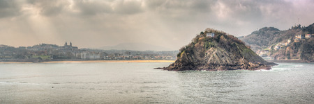 san sebastian: Panoramic view of the Santa Clara Island in Donostia, San Sebastian in the Basque region of north western Spain.