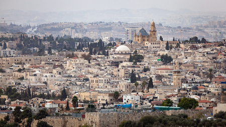 Scenic view of the historic skyline cityscape of Jerusalem, Israel. Editorial
