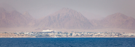 naama bay: Panoramic landscape of the coastline of Sinai Peninsula in Egypt on the Red Sea.