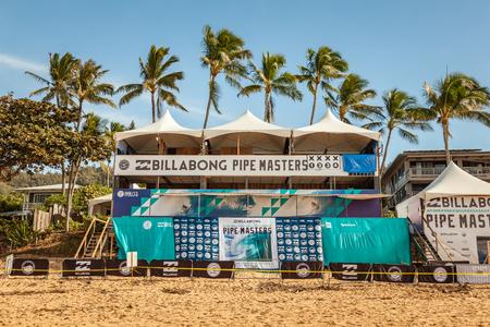 BANZAI 파이프 라인, 하와이, 미국 -2007 년 12 월 10 일 : Billabong 파이프 마스터 2017, 판사 스탠드, Banzai 파이프 라인에 오아후, 하와이, 북쪽 해안에 빈. 에디토리얼
