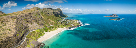 Aerial drone view of Makapuu beach landscape and blue seascape with State Seabird Sanctuary and Rabbit Island off Makapuu Point on Oahu, Hawaii, USA. 스톡 콘텐츠 - 106363592