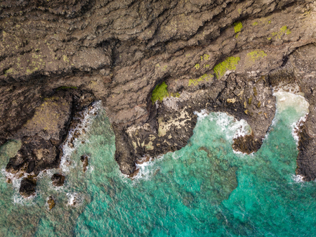 Aerial drone view of rocky Makapuu Point coastal landscape on Oahu, Hawaii, USA. 스톡 콘텐츠 - 106363594