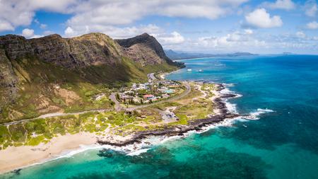 Aerial drone view of Makapuu Beach Park landscape and Point on Oahu, Hawaii, USA.