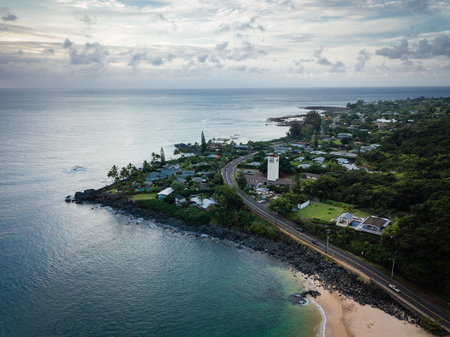 Aerial, moody, dusk landscape of Waimea Bay point on Oahu, Hawaii, north shore. 스톡 콘텐츠