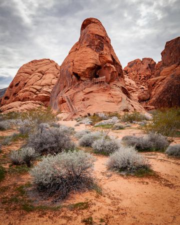 Deep red sandstone formation landscape in the Valley of Fire State Park in southern Nevada near Las Vegas.