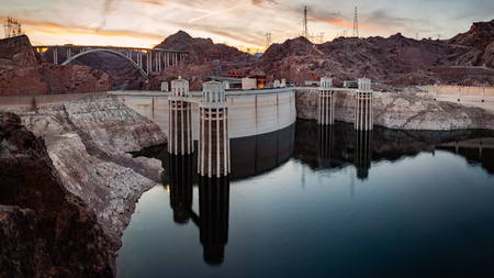 Hoover Dam panorama at Lake Mead on the border of Nevada and Arizona in southwestern United States is considered the eigth wonder of the world.